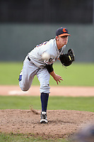 Connecticut Tigers pitcher Jack Fischer (15) delivers a pitch during the second game of a doubleheader against the Batavia Muckdogs on July 20, 2014 at Dwyer Stadium in Batavia, New York.  Connecticut defeated Batavia 2-0.  (Mike Janes/Four Seam Images)