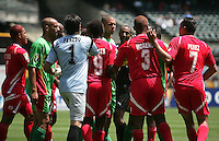 Guadeloupe and Panama players push each other. Guadeloupe defeated Panama 2-1 during the First Round of the 2009 CONCACAF Gold Cup at Oakland Coliseum in Oakland, California on July 4, 2009.