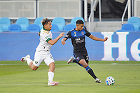 SAN JOSE, CA - SEPTEMBER 16: Marcos Lopez #27 of the San Jose Earthquakes is marked by Pablo Bonilla #28 of the Portland Timbers during a game between Portland Timbers and San Jose Earthquakes at Earthquakes Stadium on September 16, 2020 in San Jose, California.