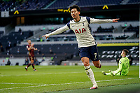 Tottenham Hotspur v Leeds United Premier League 02/01/2021. GOAL 2-0. Tottenham Hotspur forward Son Heung-Min 7 scores a goal and celebrates to make the score 2-0 during the Premier League match between Tottenham Hotspur and Leeds United at Tottenham Hotspur Stadium, London, United Kingdom on 2 January 2021. London Tottenham Hotspur Stadium London United Kingdom Editorial use only DataCo restrictions apply See www.football-dataco.com PUBLICATIONxNOTxINxUK , Copyright: xMalcolmxBrycex PSI-11562-0036 <br /> Photo Imago/Insidefoto <br /> ITALY ONLY