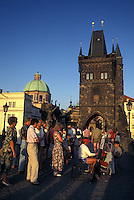 Prague, Charles Bridge, Czech Republic, Praha, Central Bohemia, Street artist on Charles Bridge.