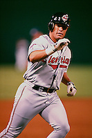 Brian Giles of the Cleveland Indians plays in a baseball game at Edison International Field during the 1998 season in Anaheim, California. (Larry Goren/Four Seam Images)