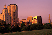 AJ4399, Hartford, skyline, Connecticut, Downtown skyline of Hartford at sunset in the state of Connecticut.