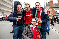 Pictured: Wales Fans during the Guinness six nations match between Wales and Ireland at the Principality Stadium, Cardiff, Wales, UK.<br /> Saturday 16 March 2019
