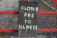 "COPY BY TOM BEDFORD<br /> Pictured:  A'Closed Due To Illness"" sign outside the Chipoteria fish and chips shop in Hermon, Wales, UK. Wednesday 31 October 2018<br /> Re: A woman who died after suffering severe burns at the Chipoteria chip shop in Carmarthenshire, west Wales has been named as Mavis Bran, 69.<br /> She died at Morriston Hospital in Swansea, six days after the incident in Hermon, near Carmarthen on the 23rd October.<br /> A 70 year old man has been arrested by Dyfed-Powys Police and bailed while investigations are continuing."