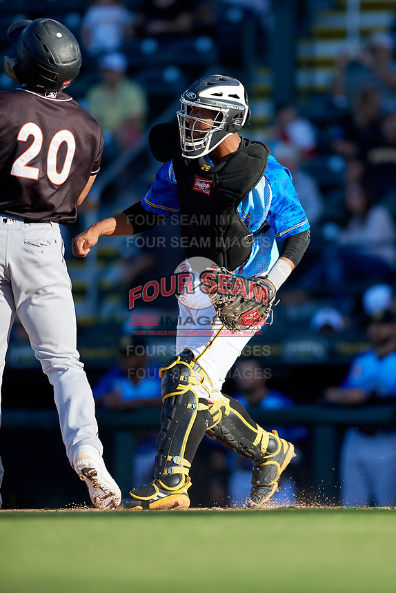 Bradenton Marauders catcher Raul Hernandez (29) during a Florida State League game against the Jupiter Hammerheads on April 20, 2019 at LECOM Park in Bradenton, Florida.  Bradenton defeated Jupiter 3-2.  (Mike Janes/Four Seam Images)