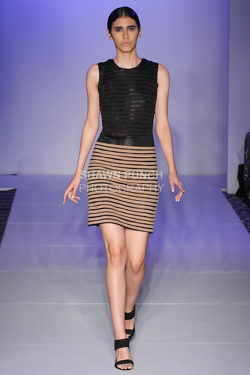 Model walks runway in an outfit from the Urban Sewn Spring Summer 2016 collection by Claire Henkel, at the Fashion Gallery NYFW Designer's Collective Spring Summer 2016 show, during New York Fashion Week.