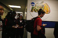 8 April 2008: Stanford Cardinal (L-R) Melanie Murphy, Candice Wiggins, team manager Leah Godinet, and Jillian Harmon during Stanford's 64-48 loss against the Tennessee Lady Volunteers in the 2008 NCAA Division I Women's Basketball Final Four championship game at the St. Pete Times Forum Arena in Tampa Bay, FL.