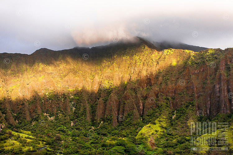 """An aerial view at dawn of the Ko'olau mountain range in Haiku valley from the Haiku Stairs (""""Stairway to Heaven"""") hiking trail in Kaneohe, O'ahu"""