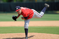 Pitcher Ian Thomas (72) of the Atlanta Braves farm system in a Minor League Spring Training intrasquad game on Wednesday, March 18, 2015, at the ESPN Wide World of Sports Complex in Lake Buena Vista, Florida. (Tom Priddy/Four Seam Images)