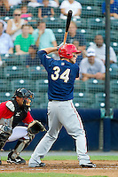 Bryce Harper #34 of the Harrisburg Senators at bat against the Richmond Flying Squirrels in game one of a double-header at The Diamond on July 22, 2011 in Richmond, Virginia.  The Squirrels defeated the Senators 3-1.   (Brian Westerholt / Four Seam Images)