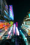 China, Shangahi, Nanjing Road Neon Sign Zoom Blur
