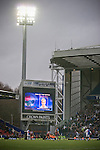 Blackburn Rovers 2 Aston Villa 0, 21/11/2010. Ewood Park, Premier League. The electronic scoreboard announces two-goal midfielder Morten Gamst Pedersen as the man-of-the-match near the end of Blackburn Rovers match against Aston Villa in a Barclays Premier League match at Ewood Park. Blackburn won the match by two goals to nil watched by a crowd of 21,848. It was Rovers' first match under the ownership of Indian company Venky's. Photo by Colin McPherson.