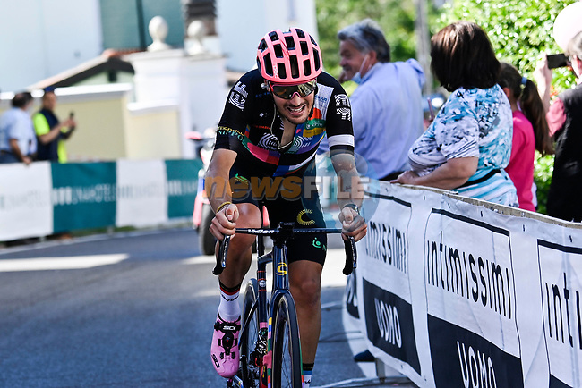 Alberto Bettiol (ITA) EF Education-Nippo from the breakaway attacks to win Stage 18 of the 2021 Giro d'Italia, running 231km from Rovereto to Stradella, Italy. 27th May 2021.  <br /> Picture: LaPresse/Fabio Ferrari | Cyclefile<br /> <br /> All photos usage must carry mandatory copyright credit (© Cyclefile | LaPresse/Fabio Ferrari)