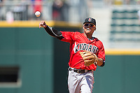 Indianapolis Indians second baseman Gustavo Nunez (12) makes a throw to first base against the Charlotte Knights at BB&T BallPark on June 21, 2015 in Charlotte, North Carolina.  The Knights defeated the Indians 13-1.  (Brian Westerholt/Four Seam Images)