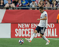 FOXBOROUGH, MA - JUNE 27: Alejandro Bedoya #11 passes the ball during a game between Philadelphia Union and New England Revolution at Gillette Stadium on June 27, 2019 in Foxborough, Massachusetts.
