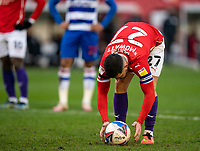 2nd April 2021, Oakwell Stadium, Barnsley, Yorkshire, England; English Football League Championship Football, Barnsley FC versus Reading; Alex Mowatt of Barnsley places the ball before 61st min spot kick