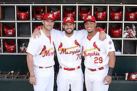 ***Temporary Unedited Reference File***Memphis Redbirds  during a game against the Omaha Storm Chasers on May 5, 2016 at AutoZone Park in Memphis, Tennessee.  Omaha defeated Memphis 5-3.  (Mike Janes/Four Seam Images)