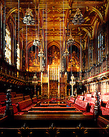 A view of the magnificent Chamber from the Bar at the House of Lords, looking towards the Throne