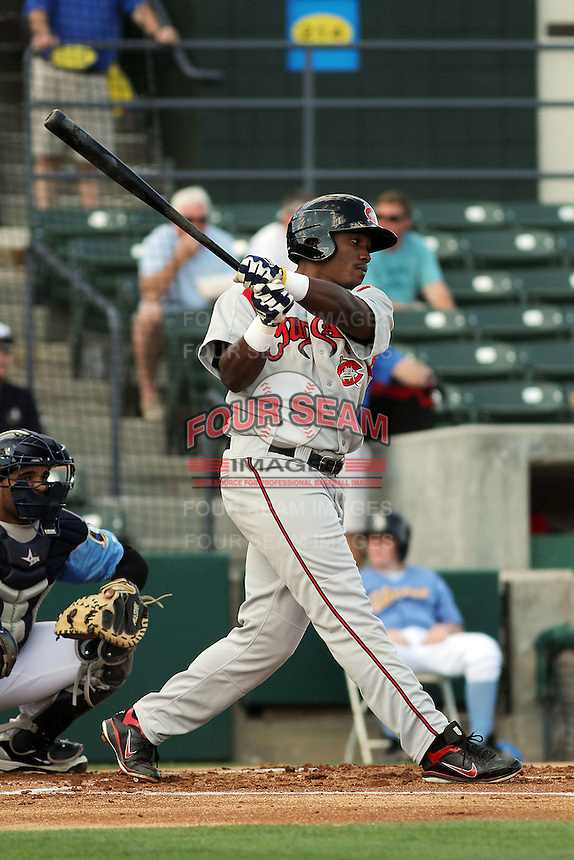 Carolina Mudcats outfielder Carlos Moncrief #20 at bat during the first game of a doubleheader against the Myrtle Beach Pelicans at Tickerreturn.com Field at Pelicans Ballpark on May 10, 2012 in Myrtle Beach, South Carolina. Myrtle Beach defeated Carolina by the score of 2-1. (Robert Gurganus/Four Seam Images)