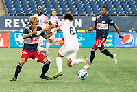 FOXBOROUGH, MA - SEPTEMBER 04: Ryo Shimazaki #31 of New England Revolution II and Michael Vang #8 Forward Madison FC battle for the ball during a game between Forward Madison FC and New England Revolution II at Gillette Stadium on September 04, 2020 in Foxborough, Massachusetts.