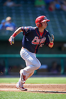 Peoria Chiefs left fielder Dylan Tice (43) runs to first base during the second game of a doubleheader against the South Bend Cubs on July 25, 2016 at Four Winds Field in South Bend, Indiana.  South Bend defeated Peoria 9-2.  (Mike Janes/Four Seam Images)