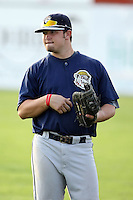 August 22 2008:  Robert Alcombrack of the Mahoning Valley Scrappers, Class-A affiliate of the Cleveland Indians, during a game at Dwyer Stadium in Batavia, NY.  Photo by:  Mike Janes/Four Seam Images