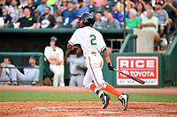 Northern Divisions designated hitter Jose Devers (2) of the Greensboro Grasshoppers swings at a pitch during the South Atlantic League All Star Game at First National Bank Field on June 19, 2018 in Greensboro, North Carolina. The game Southern Division defeated the Northern Division 9-5. (Tony Farlow/Four Seam Images)
