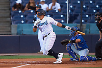 Tampa Tarpons Carlos Narvaez (5) bats during a game against the Dunedin Blue Jays on May 7, 2021 at George M. Steinbrenner Field in Tampa, Florida.  (Mike Janes/Four Seam Images)