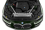 Car Stock 2021 BMW 4-Series M-Sport 2 Door Convertible Engine  high angle detail view