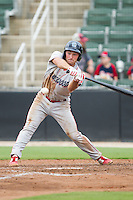 Andrew Pullin (17) of the Lakewood BlueClaws swings at the baseball during the game against the Kannapolis Intimidators at CMC-NorthEast Stadium on July 20, 2014 in Kannapolis, North Carolina.  The Intimidators defeated the BlueClaws 7-6. (Brian Westerholt/Four Seam Images)