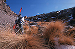 .Climbing of the mountain Toubkal (4165 m) with mountaineering skis, highest summit of North Africa. Atlas range. Morocco. Africa