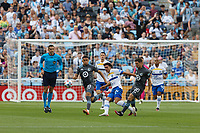 SAINT PAUL, MN - JULY 3: Hassani Dotson #31 of Minnesota United FC and Oswaldo Alanis #4 of the San Jose Earthquakes battle during a game between San Jose Earthquakes and Minnesota United FC at Allianz Field on July 3, 2021 in Saint Paul, Minnesota.