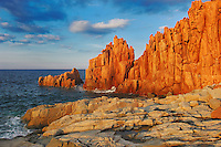 Beach of Rocce Rosse at evening light, Arbatax,Tortolì, Sardinia, Italy