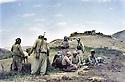 Iraq 1983 <br /> In Haj Omran, peshmergas of KDP resting near the deserted bunkers of the Iraqi army <br /> Irak 1983 <br /> A Haj Omran, peshmergas du PDK se reposant pres d'un abri abandonne par l'armee irakienne