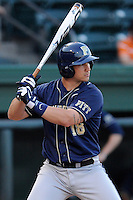 First baseman Steven Shelinsky Jr. (18) of the University of Pittsburgh Panthers bats in a game against the Presbyterian Blue Hose on Tuesday, March 11, 2014, at Fluor Field at the West End in Greenville, South Carolina. Pitt won, 12-3. (Tom Priddy/Four Seam Images)
