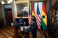United States Vice President Kamala Harris talks to the media next to President Nana Akufo-Addo of Ghana face reporters before their meeting in the Vice President's Ceremonial Office in the Eisenhower Executive Office Building in Washington, DC on September 23, 2021. <br /> Credit: Yuri Gripas / Pool via CNP /MediaPunch