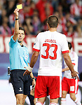 Italian referee Gianluca Rocchi show yellow card to SL Benfica's Jardel during Champions League 2015/2016 match. September 30,2015. (ALTERPHOTOS/Acero)