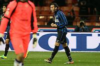 """Esultanza di Giampaolo Pazzini Inter..Celebration..Milano10/12/2011 Stadio """"S.Siro""""..Football / Calcio Serie A 2011/2012..Inter vs Fiorentina..Foto Paolo Nucci Insidefoto"""