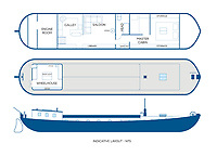 BNPS.co.uk (01202) 558833. <br /> Pic: Zeewarriors/BNPS<br /> <br /> Pictured: Floor plan. <br /> <br /> A 100-year old Dutch sailing barge moored in Bermondsey has gone on sale for £278,000.<br /> <br /> The 25-metre MV Johanna Elisabeth was originally constructed in 1913 at Appelo, Zwartsluis in Holland, and was brought to the UK in 2003 by a previous owner.<br /> <br /> Her work as a sailing barge included shipping freight but she is now moored at the South Dock Marina in Bermondsey, south London, and used as a home.