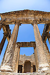 Named as a UNESCO World Heritage Site in 1997 and located southeast of Tunis, the Roman ruins of Dougga are renowned as the largest and most beautiful Roman site in all of Tunisia.  This photo shows the well-preserved temple of the Capitol