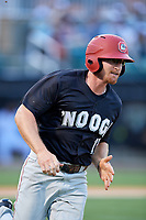 Chattanooga Lookouts designated hitter Travis Harrison (17) runs to first base during a game against the Jackson Generals on April 29, 2017 at The Ballpark at Jackson in Jackson, Tennessee.  Jackson defeated Chattanooga 7-4.  (Mike Janes/Four Seam Images)