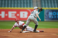 Ethan Paul (10) of the Vanderbilt Commodores attempts to tag out Nick Hanks (44) of the Louisiana Ragin' Cajuns at second base in game five of the 2018 Shriners Hospitals for Children College Classic at Minute Maid Park on March 3, 2018 in Houston, Texas.  The Ragin' Cajuns defeated the Commodores 3-0.  (Brian Westerholt/Four Seam Images)