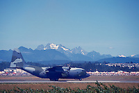 Canadian Forces Lockheed C-130 Hercules Turboprop Military Transport Aircraft landing on Runway - at Abbotsford International Airshow, BC, British Columbia, Canada