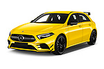 2019 Mercedes Benz A-Class - 5 Door Hatchback Angular Front automotive stock photos of front three quarter view