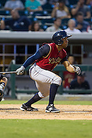Antoan Richardson (17) of the Scranton/Wilkes-Barre RailRiders follows through on his swing against the Charlotte Knights at BB&T Ballpark on July 17, 2014 in Charlotte, North Carolina.  The Knights defeated the RailRiders 9-5.  (Brian Westerholt/Four Seam Images)