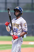 Burlington Bees outfielder Torii Hunter (22) at the plate during a Midwest League game against the Wisconsin Timber Rattlers on May 19, 2018 at Fox Cities Stadium in Appleton, Wisconsin. Wisconsin defeated Burlington 1-0. (Brad Krause/Four Seam Images)