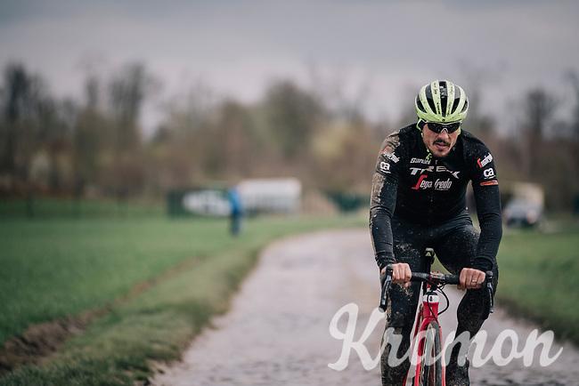 John Degenkolb (DEU/Trek-Segafredo)<br /> <br /> Team Trek-Segafredo during parcours recon of the 116th Paris-Roubaix 2018, 3 days prior to the race