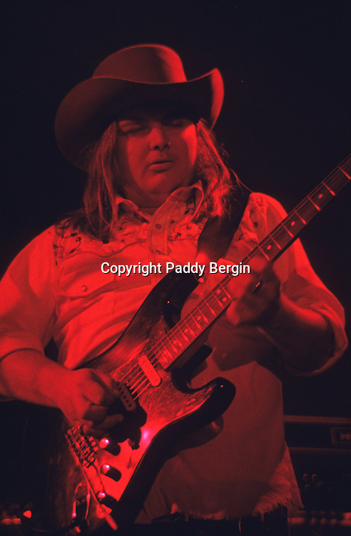 """Guitarist Ed King, Lynyrd Skynyrd, Dome Brighton 1974.<br /> <br /> Lynyrd Skynyrd is an American rock band best known for popularising the southern hard-rock genre during the 1970s.<br /> <br /> The band rose to worldwide recognition on the basis of its driving live performances and signature tunes """"Sweet Home Alabama"""" and """"Free Bird"""". At the peak of their success, three members died in an airplane crash in 1977, putting an abrupt end to the band's most popular incarnation.<br /> <br /> Stock Photo by Paddy Bergin"""
