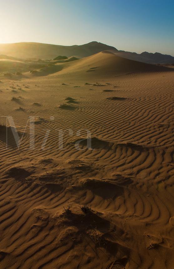 Namibia Northern Desert of Namib Desert tall wonderful sand dunes of Hartmann Berge deserted land Hartmann Valley Marienflub with hills and ripples